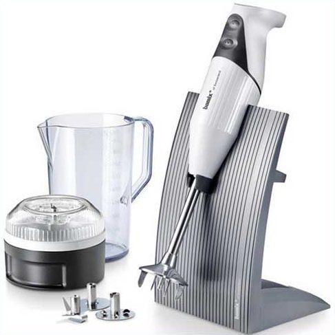 Bamix Swissline Hand blender set with 200W blender stick, processor, jug, 3 blades and stand.