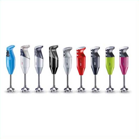 Bamix gastro white hand blender featuring wall holder and all four Bamix blades