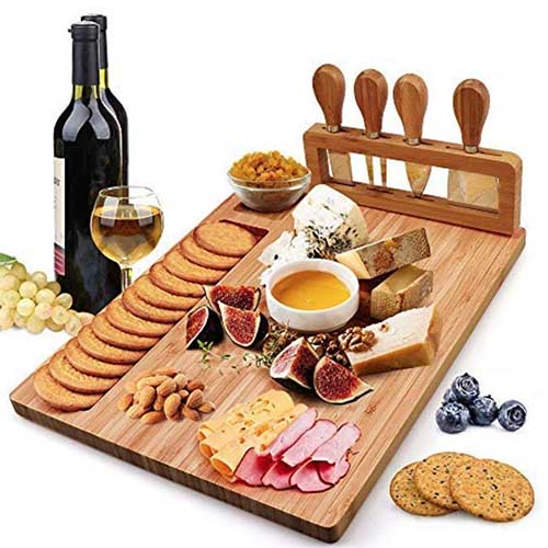 cheese and meats serving board