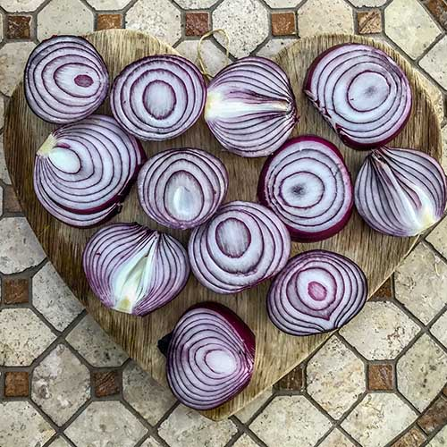 raw red onions on a board