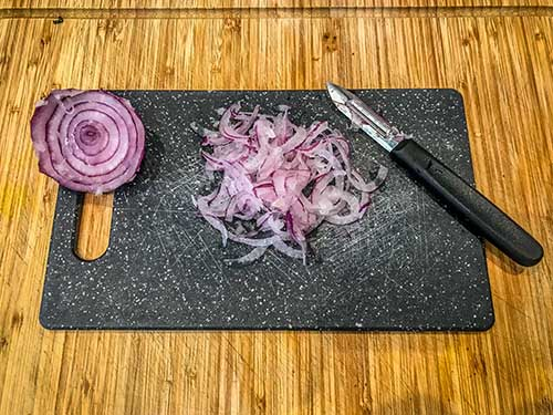 how to make wafer thin red onion slices - without a mandolin