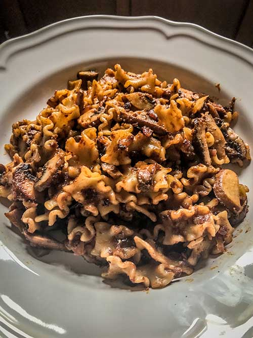 Mushroom pasta … with a touch of fragrant spice