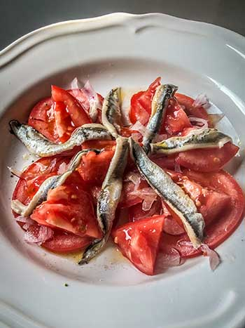 pickled fresh anchovy is boquerony